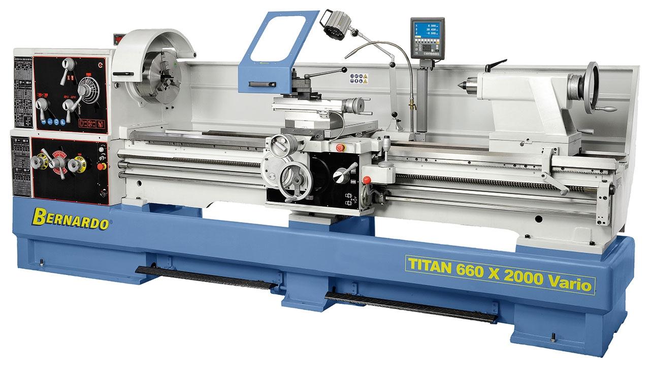 Tokarka Titan 660 x 3000 VARIO  z cyfrowym wyświetlaczem 3 osi i systemem MULTIFIX * BERNARDO