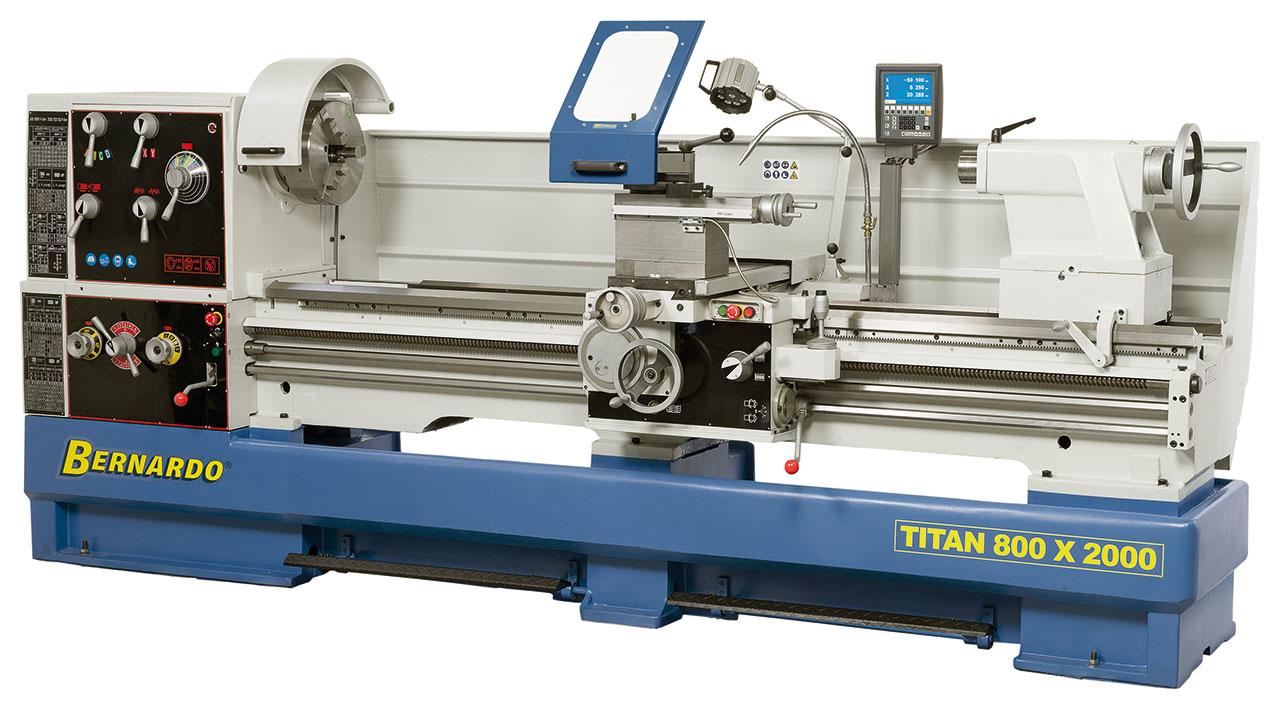 Tokarka Titan 800 x 2000 z cyfrowym wyświetlaczem 3 osi i systemem MULTIFIX * BERNARDO