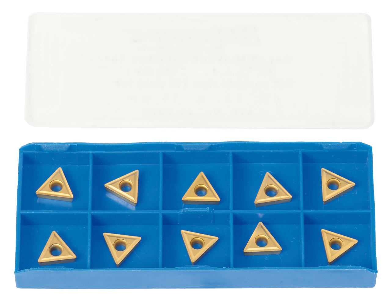 Zestaw płytek węglikowych HM - płytki (10 szt.) pasujących do noży tokarskich 10, 12, 16 mm BERNARDO