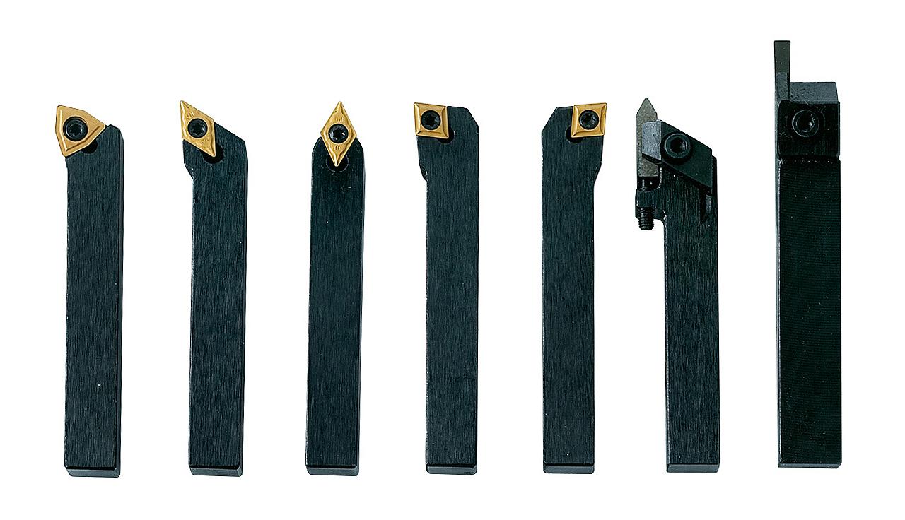 Noże tokarskie z płytkami weglikowymi HM, 10 mm, 7 szt. Zestaw B BERNARDO