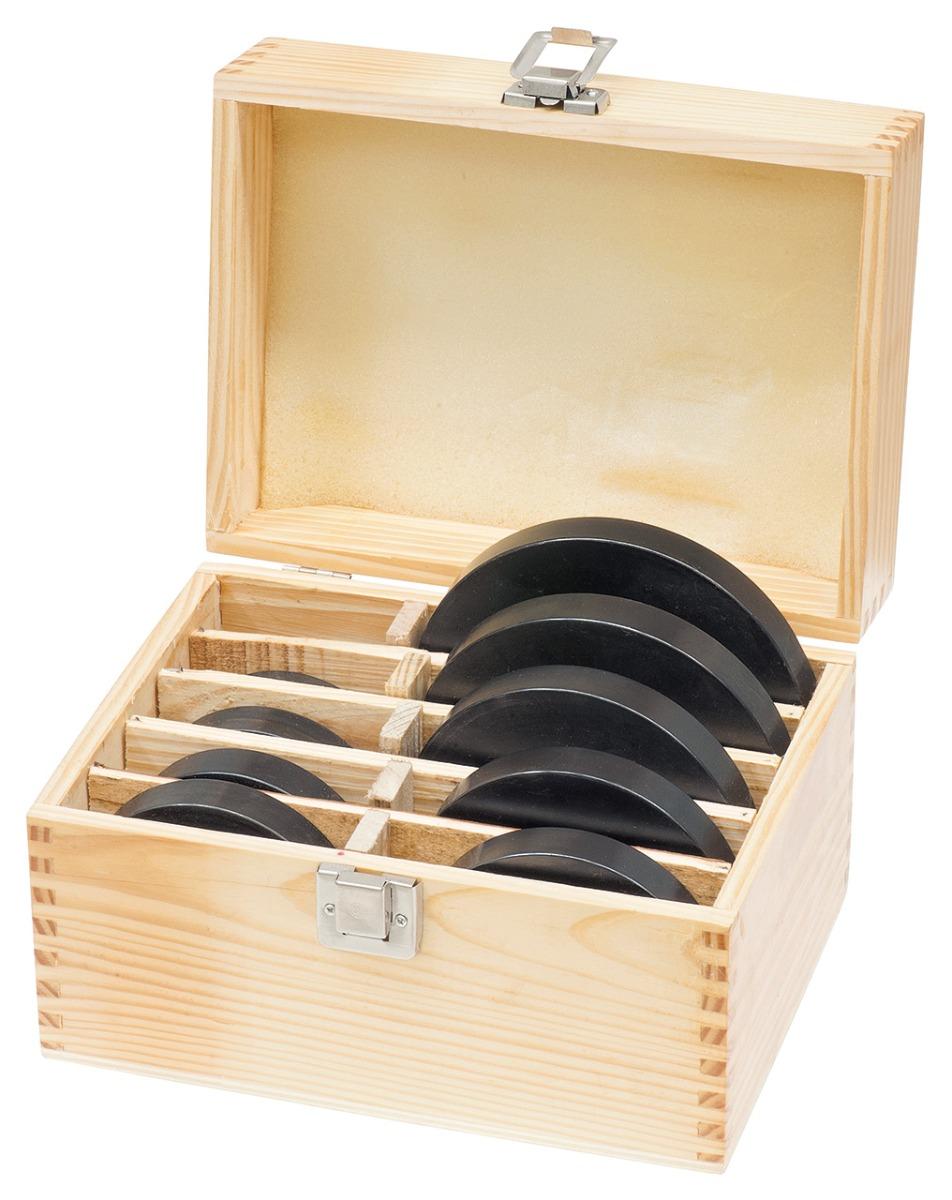 Zestaw pierścieni oporowych 12 szt. w drewnianym pudełku