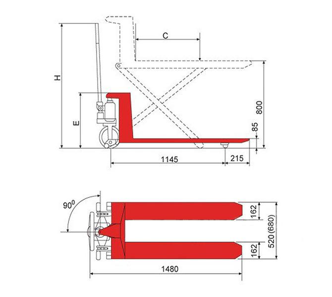 Wózek paletowy nożycowy SHW 1000 T BERNARDO - 1031 - zdjęcie 3