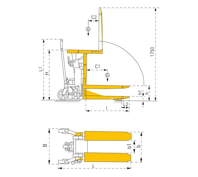Wózek podnośnikowy, masztowy HHK 1000 BERNARDO - 1060 - zdjęcie 8