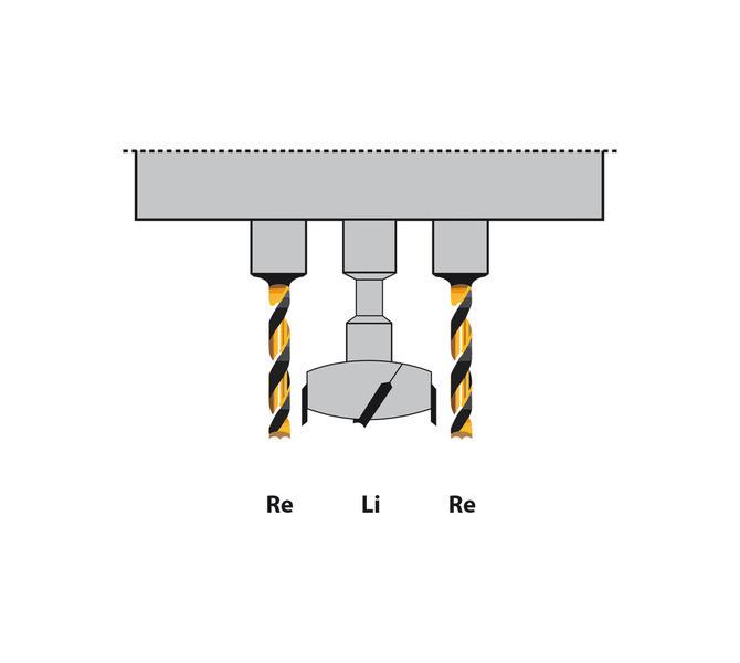 Centralne wiertło do zawiasów jest lewoskrętne, oba skrajne wiertła są prawoskrętne - 1366 - zdjęcie 7