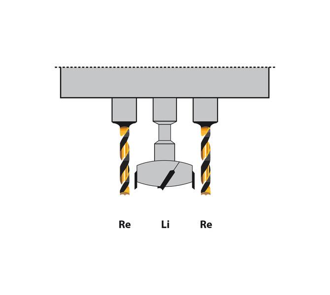 Centralne wiertło do zawiasów jest lewoskrętne, oba skrajne wiertła są prawoskrętne - 1368 - zdjęcie 7