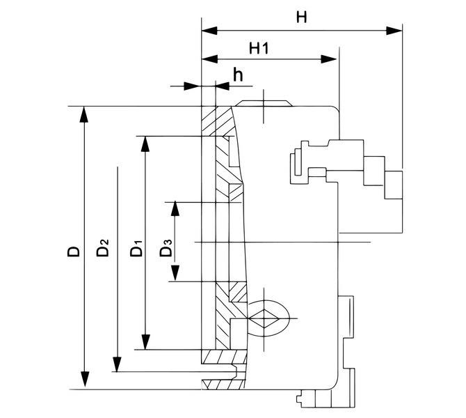 Uchwyt tokarski 3-szczękowy, precyzyjny, żeliwny, DK11-80 DIN 6350 BERNARDO - 3492 - zdjęcie 2