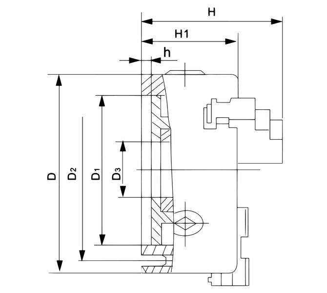Uchwyt tokarski 3-szczękowy, precyzyjny, żeliwny, DK11-250 DIN 6350  BERNARDO - 3497 - zdjęcie 2