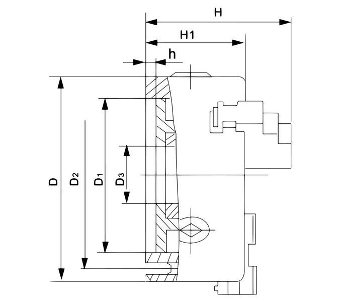 Uchwyt tokarski 3-szczękowy, precyzyjny, żeliwny, DK11-630 DIN 6350  BERNARDO - 3501 - zdjęcie 2