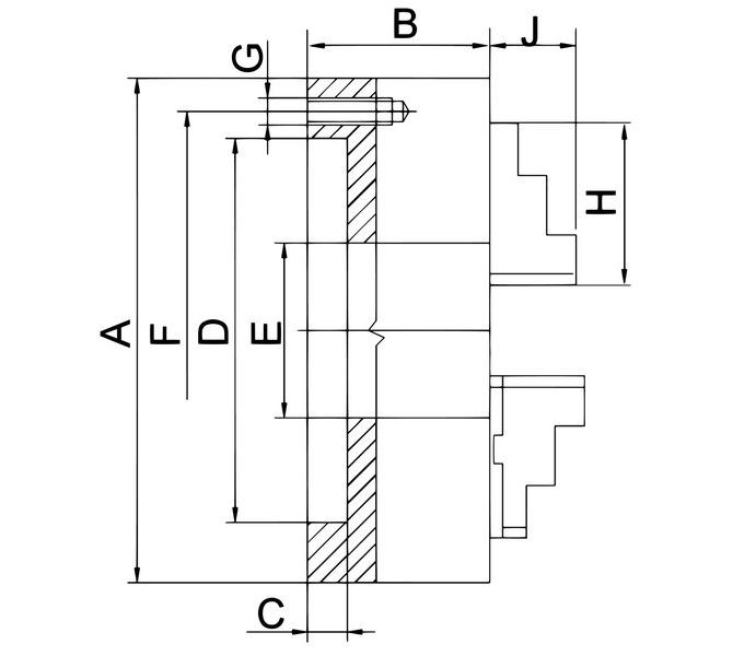 Uchwyt tokarski 3-szczękowy, precyzyjny PO3 zgodnie z DIN 6350, PO3-160, stalowy BERNARDO - 3688 - zdjęcie 2
