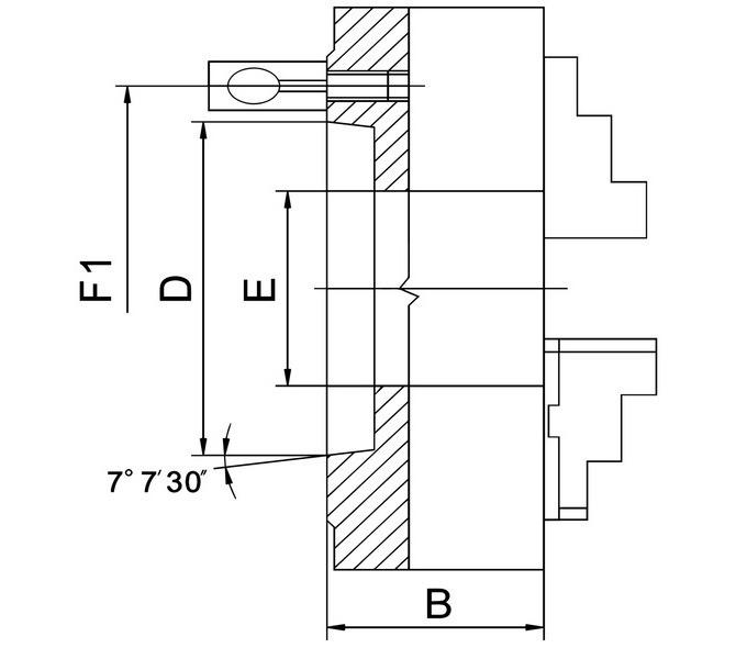 Uchwyt tokarski 3-szczękowy, precyzyjny PO3-D zgodnie z DIN 55029, PO3-250/D6, stalowy BERNARDO - 3714 - zdjęcie 2