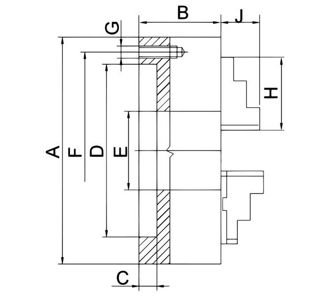 Uchwyt tokarski 4-szczękowy, precyzyjny PO4 zgodnie z DIN 6350, PO4-315, stalowy BERNARDO - 3752 - zdjęcie 2