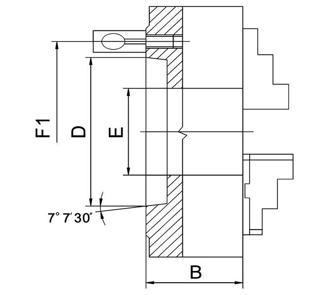 Uchwyt tokarski 4-szczękowy, Bernardo, precyzyjny PO4-D, DIN 55029, PO4-250/D8, stalowy BERNARDO - 3773 - zdjęcie 2