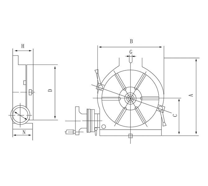 Stół okrągły pionowy i poziomy HV 10 - 250 mm BERNARDO - 4259 - zdjęcie 2