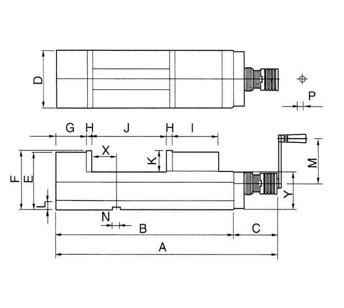 Mechaniczne imadło maszynowe śrubowe CHV 100 V BERNARDO - 4412 - zdjęcie 2