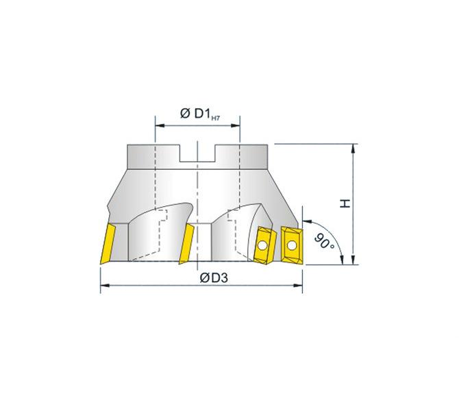 Frez czołowy 90° wysokiej wydajności  63 mm BERNARDO - 4767 - zdjęcie 2