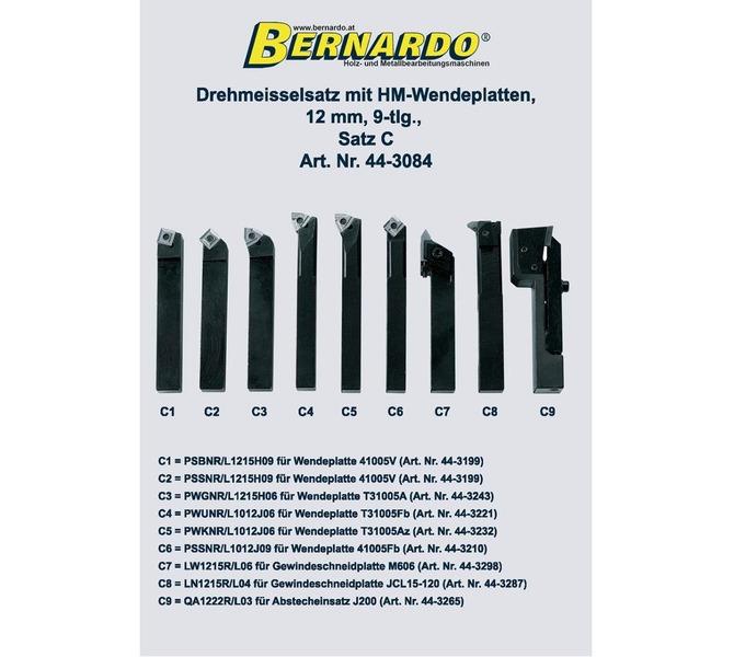 Noże tokarskie z płytkami weglikowymi HM, 12 mm, 9 szt. Zestaw C BERNARDO - 4808 - zdjęcie 2